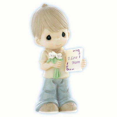 Boy with Flowers and Card for Mom by Precious Moments Figurine 840002