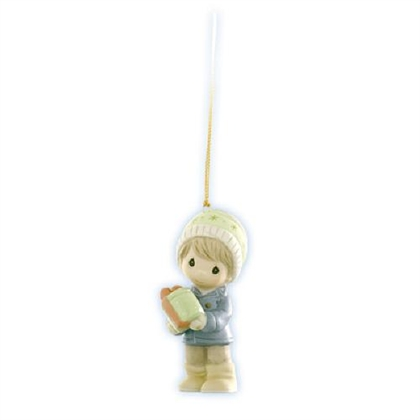 Boy with Christmas Candy Tin - Precious Moments Ornament, 910014