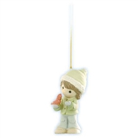 Girl Holding Cardinal - Precious Moments Ornament, 910016