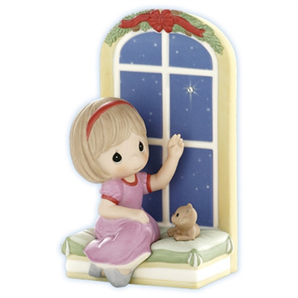 Girl Watching Christmas Star at Window - Precious Moments Figurine, 910017