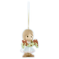 Girl Holding Boughs Of Holly - Precious Moments Ornament, 910023