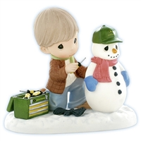 Dad Fixing Plastic Snowman - Precious Moments Figurine, 910044