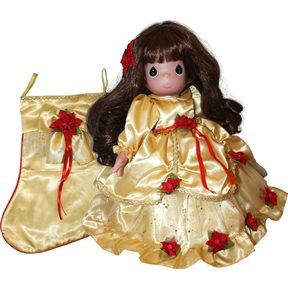 Precious Moment Golden Christmas Memories Stocking Doll | 1251