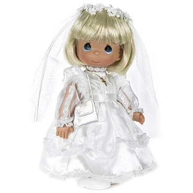 Communion Girl, Blonde, Precious Moments Doll 1490