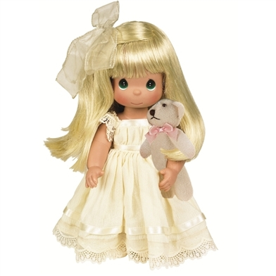 Blonde Girl with Mini Plush Bear 12 inch Precious Moments Doll, Cherish Me Always 4642