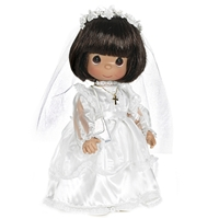 Communion Girl, Brunette - 9in Precious Moments Doll, 1491N