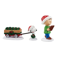 Peanuts Christmas Checking the List Set Figurine