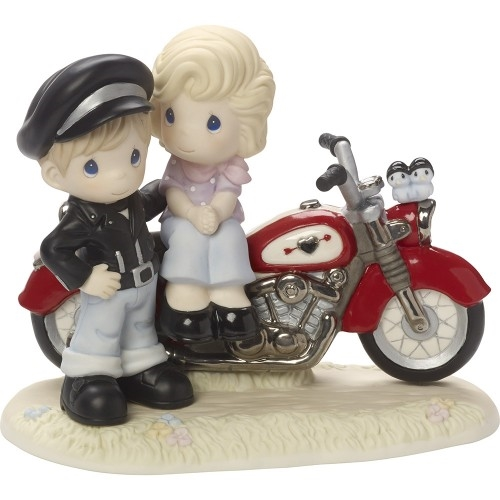 Precious Moments 1950's Couple with Motorcycle Figurine