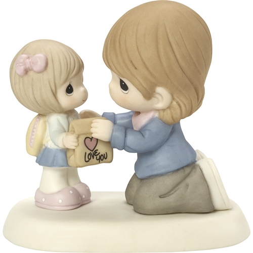 Precious Moments Mother Giving Lunch Bag to Daughter Figurine