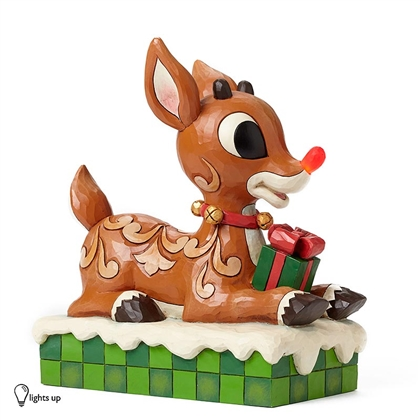 Large Rudolph with Lighted Nose Figurine by Jim Shore, 4048591