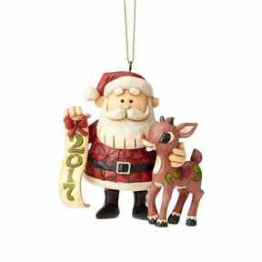 Rudolph Traditions Dated 2017 Rudolph and Santa Ornament