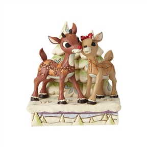 Rudolph Traditions Rudolph and Clarice Cheek to Cheek byTrees Figurine