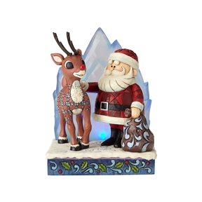Rudolph Traditions with Santa and Light-Up Iceberg Figurine