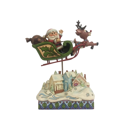 Rudolph Traditions Sleigh Over Village Figurine, 6001593