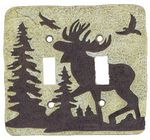 3D Moose Double Light Switchplate Cover - 1765
