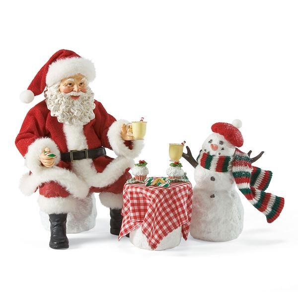 Santa And Snowman Eggnog Set Possible Dreams Figurine